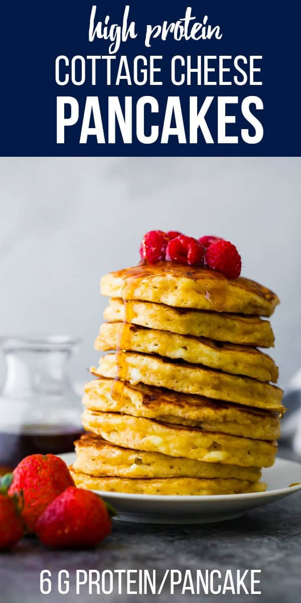 These cottage cheese pancakes are fluffy and higher in protein...perfect for kids or a healthy meal prep breakfast! healthy pancakes, fluffy pancakes, #sweetpeasandsaffron #pancake #breakfast