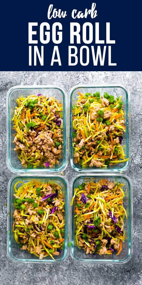 This egg roll in a bowl is the perfect low carb lunch for you! With only 7 g net carbs, this recipe has broccoli cole slaw, ground pork, and a delicious Asian sauce. Low carb egg roll in a bowl, pork egg roll in a bowl, keto egg roll in a bowl #sponsored #sweetpeasandsaffron #mealprep #eggroll #lowcarb #keto