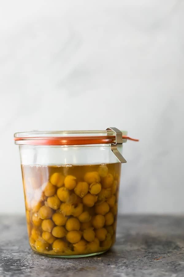 instant pot chickpeas in a jar for storage