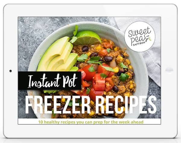 bowl of food with beans, avocados, tomatoes and text overlay saying instant pot freezer recipes