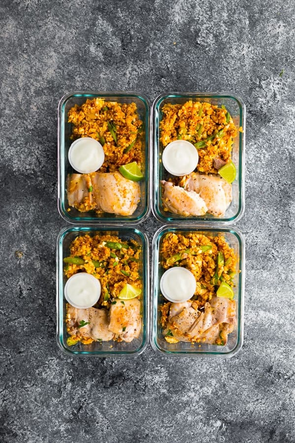 low carb indian chicken skillet portioned out into meal prep containers