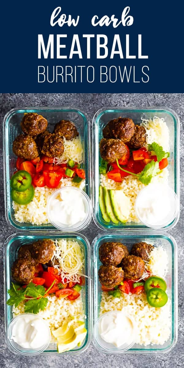 Low carb meatball burrito bowls with taco-seasoned meatballs, cauliflower rice, pico de gallo, cheese and sour cream with only 5 g net carbs per serving. #sweetpeasandsaffron #mealprep #keto #lowcarb