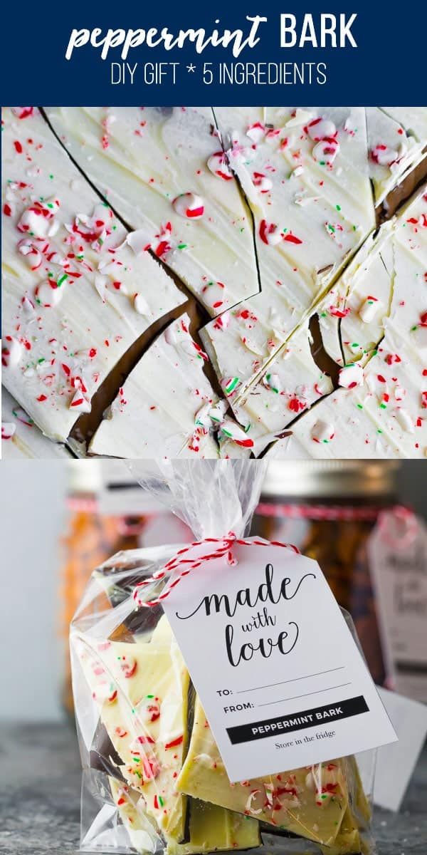 This easy peppermint bark recipe is the perfect party treat or DIY Christmas gift! Just four ingredients, and so simple to make. easy peppermint bark, white chocolate peppermint bark, christmas peppermint bark #sweetpeasandsaffron #christmas #gift #diygift
