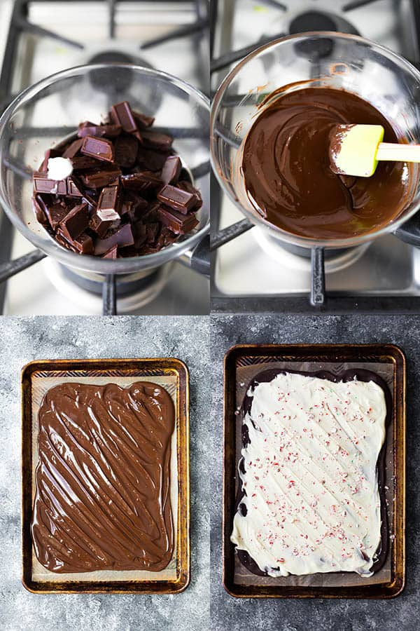 collage image showing how to make peppermint bark