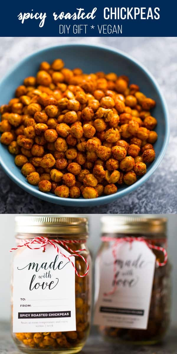 Spicy roasted chickpeas that you can make in the oven or your air fryer! My fool-proof method for the CRISPIEST roasted chickpeas in either the oven or the air fryer. healthy roasted chickpeas, christmas snack, oven roasted chickpeas, air fryer roasted chickpeas #sweetpeasandsaffron #holidays #gift #vegan #glutenfree