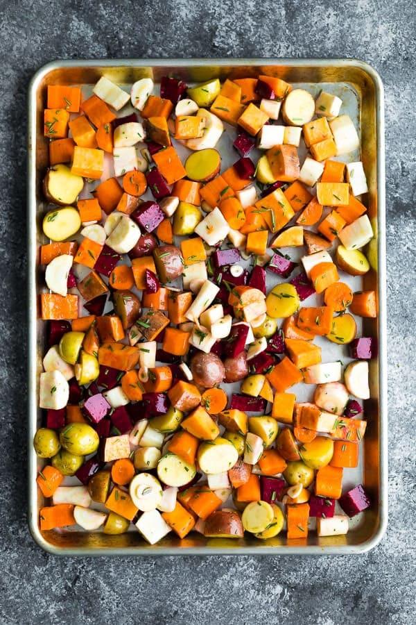 overhead shot of rosemary root vegetables on sheet pan