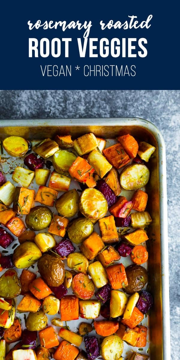 Rosemary roasted root vegetables is a beautiful, hands-off side dish that is perfect for a weeknight dinner, or for your Christmas, Easter or Thanksgiving table. Vegan, gluten-free and paleo! oven roasted vegetables, healthy roasted vegetables #sweetpeasandsaffron #holidays #vegetables