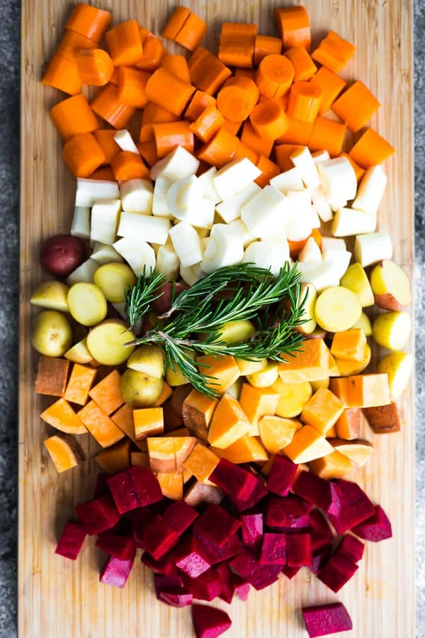 ingredients for the roasted root vegetables recipe