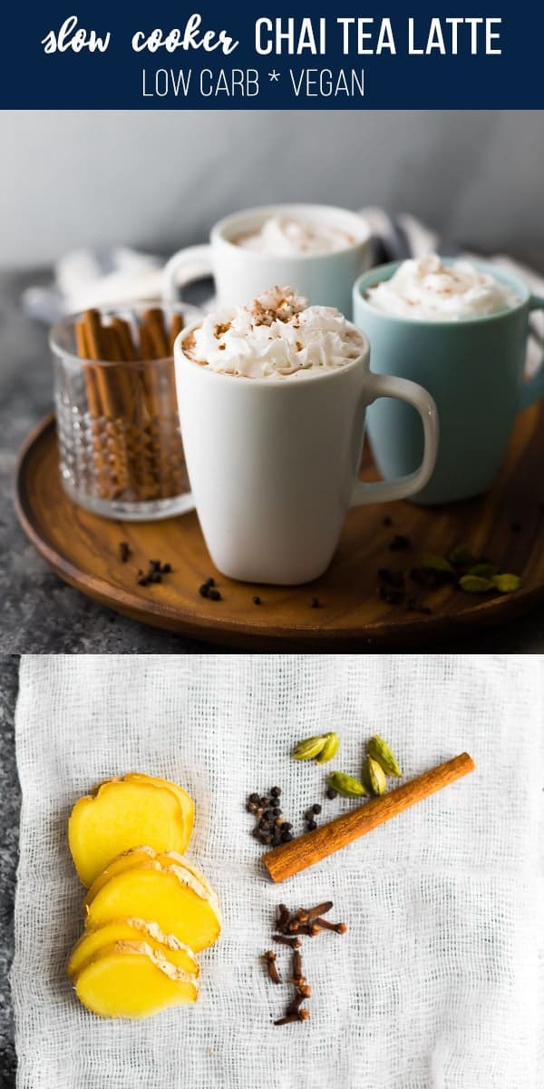 This slow cooker chai tea latte is the perfect after dinner drink for the holidays. Keto-friendly and alcohol-free, but full of delicious soul-warming flavor! slow cooker drink, holiday drink christmas, holiday drink warm, #sweetpeasandsaffron #slowcooker #chai #christmas