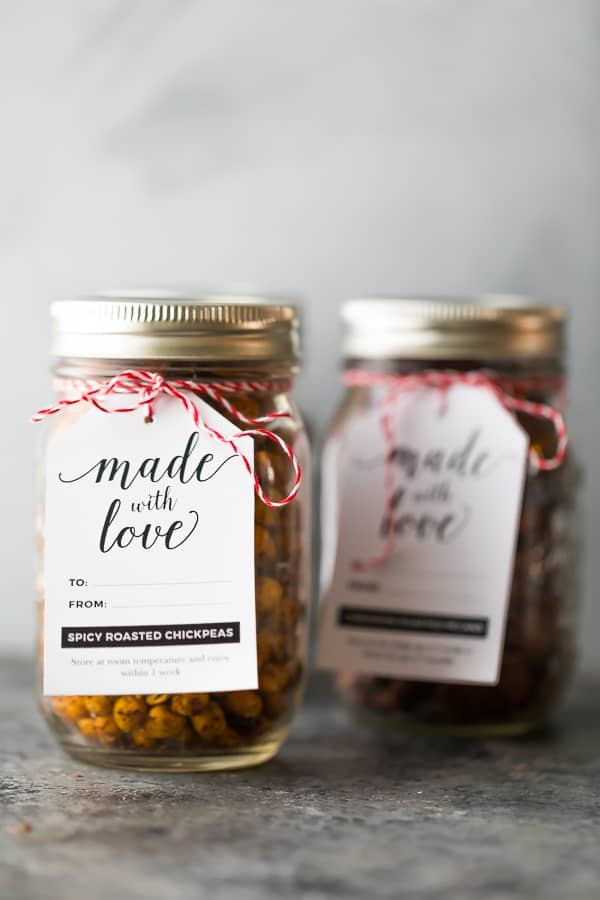 roasted chickpeas snack in glass jar with gift tag