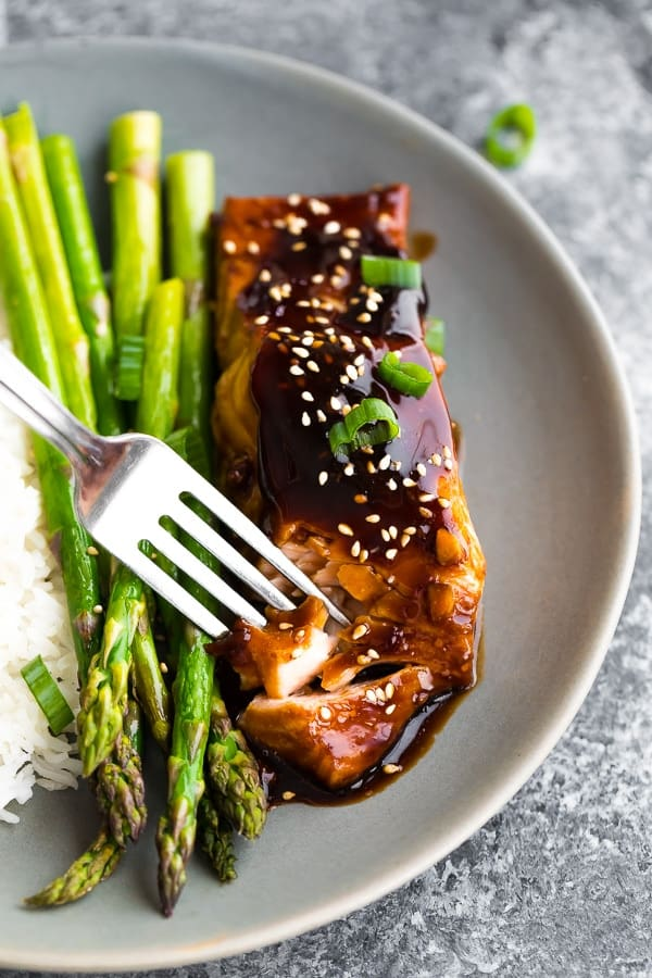 fork flaking baked teriyaki salmon recipe