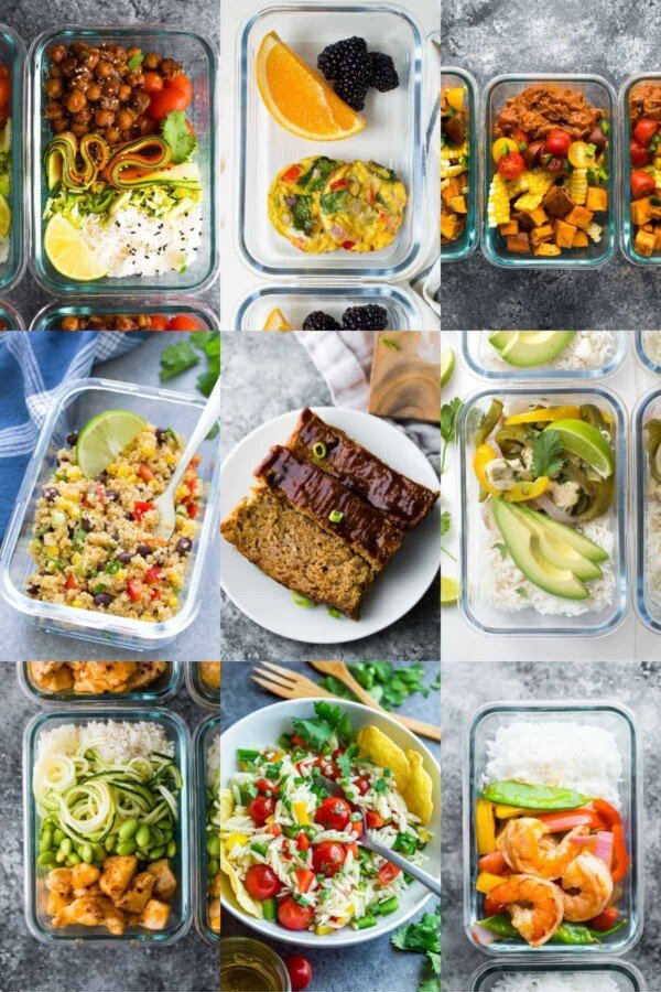 collage image with Dairy-Free meals for Meal Prep