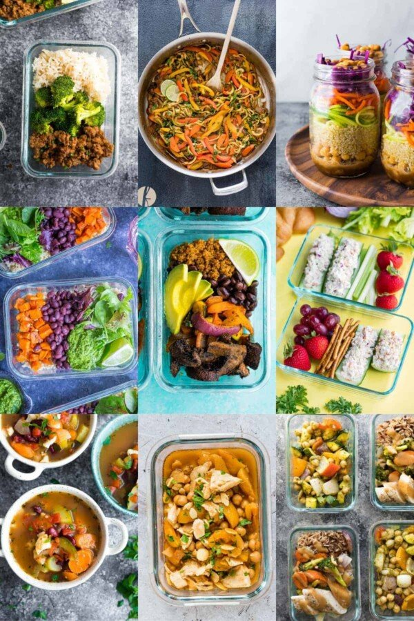collage image with Dairy-Free Recipes for Meal Prep