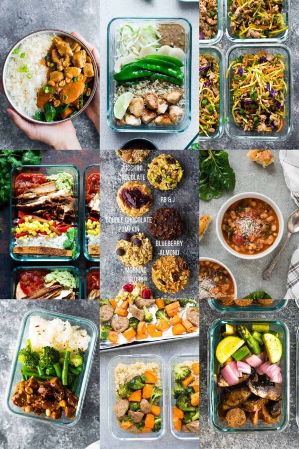 collage image with 36 Dairy-Free meals for Meal Prep