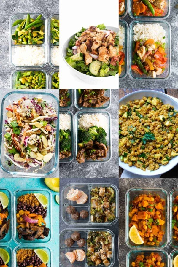 collage image with 36 Dairy-Free Recipes for Meal Prep