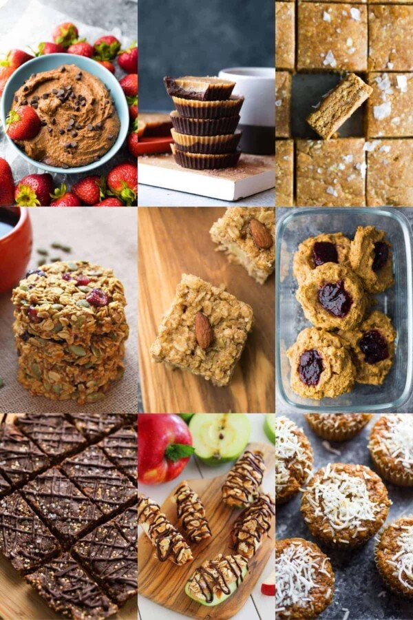 collage image with sweet healthy high protein snacks