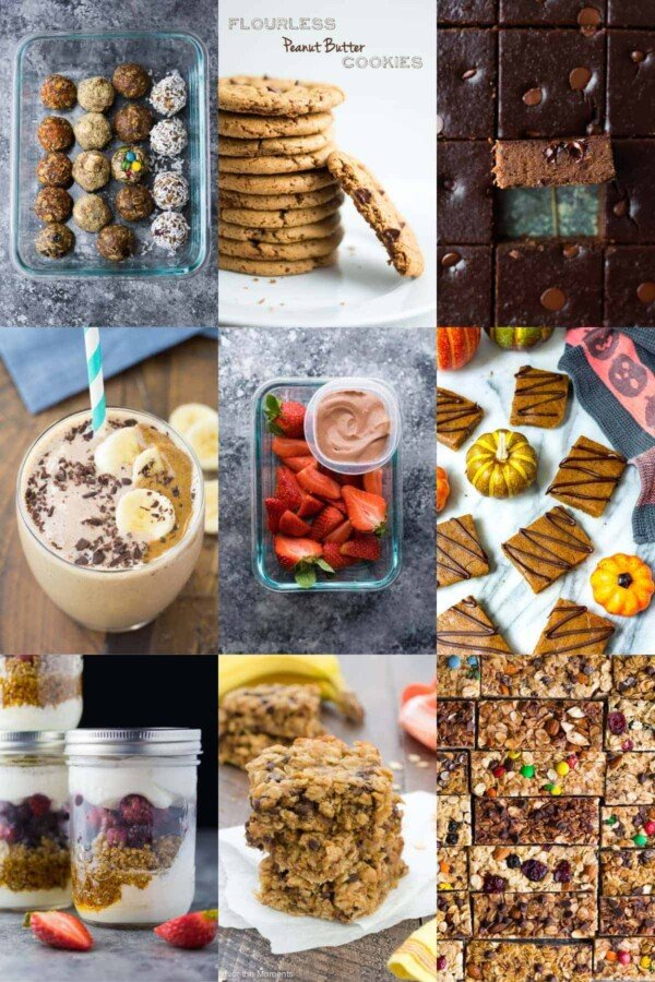 collage image with healthy snack ideas (sweet)