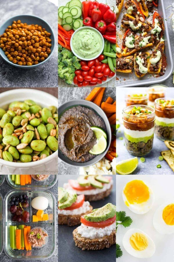 collage image with savory high protein snacks