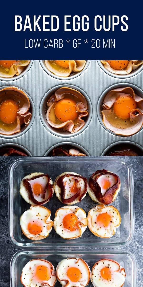 Meal prep baked eggs in a muffin tin! Bulk prep your eggs for easy breakfasts in the morning. Low carb, gluten-free, and ready in under 20 minutes. #sweetpeasandsaffron #lowcarb #mealprep #keto