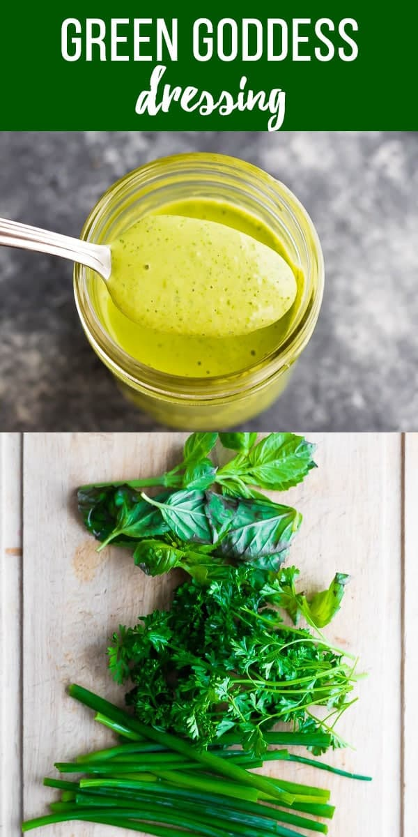 Satisfy your inner goddess with this simple green goddess dressing! With a ton of fresh herbs, tahini, lemon and garlic, this vegan dressing is great on salads or used as a dip! #sweetpeasandsaffron #dressing #vegan #glutenfree