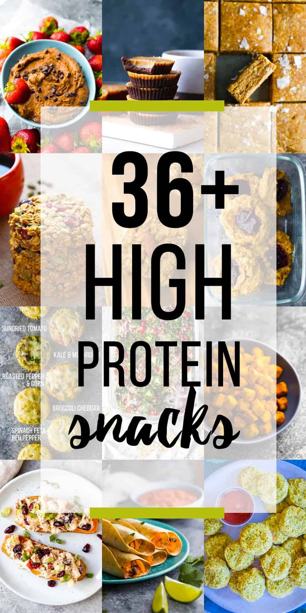 collage image with 36 high protein snacks