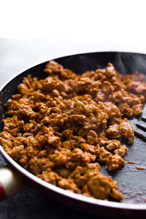 cooking taco meat in frying pan