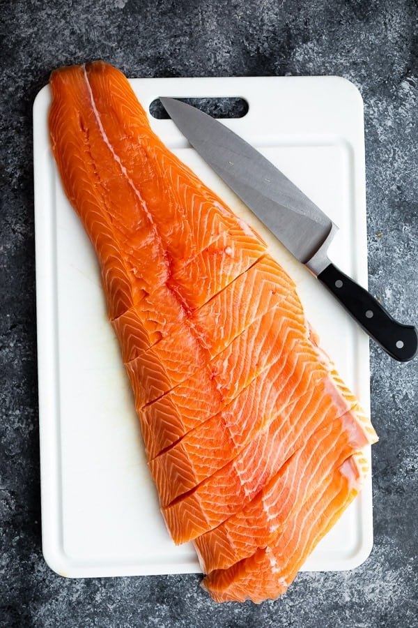 how to cook salmon in a pan- cutting salmon into fillets