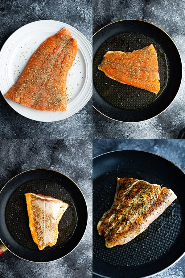 collage image showing how to cook salmon on the stove