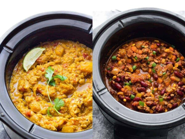 collage image with crockpot meals