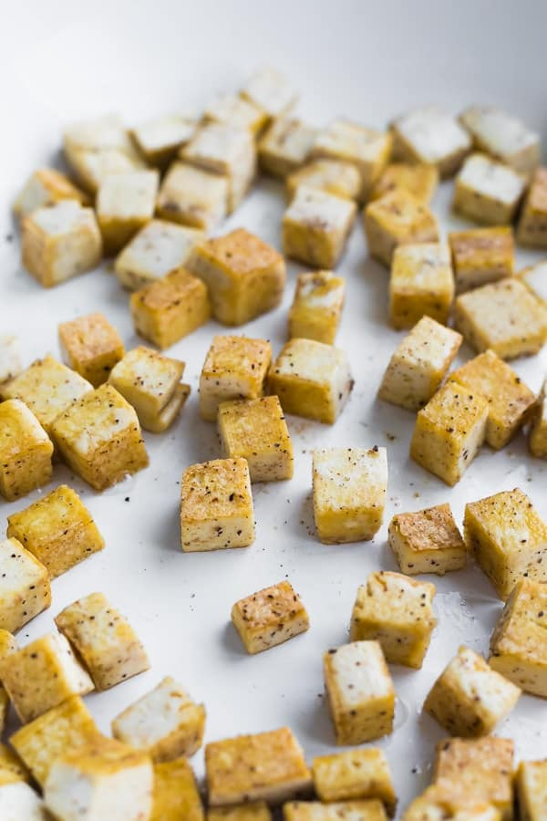 tofu for the Spicy Tofu Noodle Meal Prep Bowls in white pan