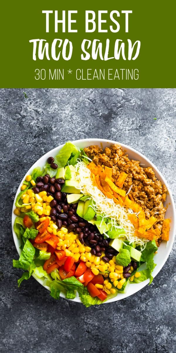 Taco salad recipe with turkey taco meat, tortilla chips, cheese, avocado, black beans, corn, tomatoes and romaine lettuce. Plus instructions on how to store for meal prep. #sweetpeasandsaffron #lunch #salad #jarsalad