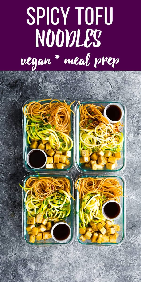 Spicy tofu noodle meal prep bowls are the perfect healthy alternative when you are craving a big bowl of noodles! With whole wheat spaghetti, zucchini noodles, tofu and a sweet/savory/spicy sauce. vegan meal prep, tofu meal prep, vegetarian meal prep #sweetpeasandsaffron #vegan #vegetarian #mealprep