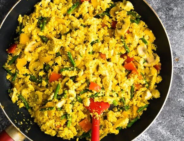 overhead shot of a large skillet filled with tofu scramble