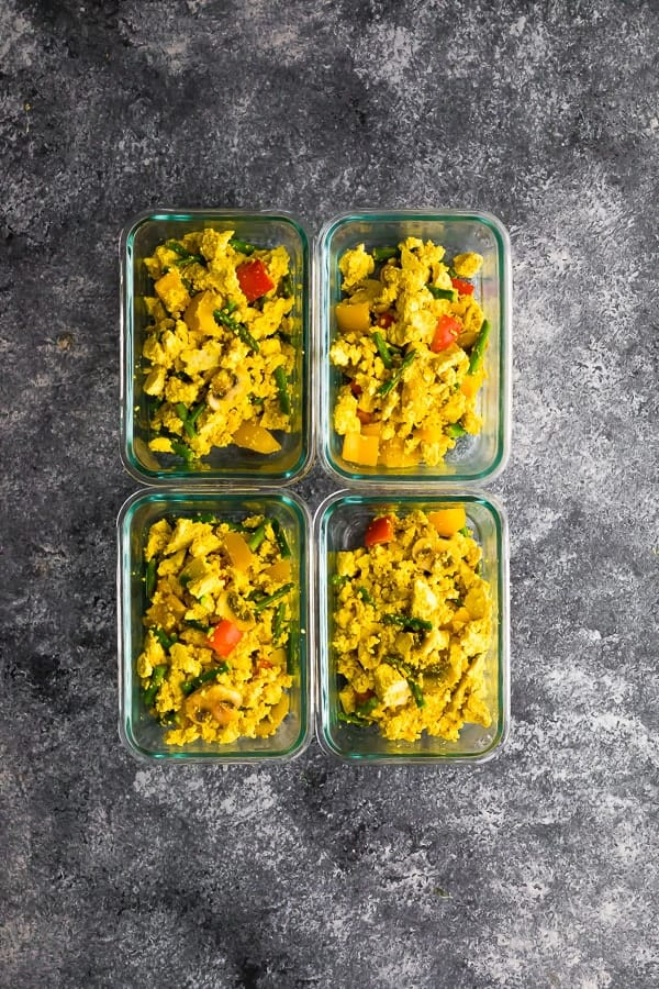 Vegan Tofu Scramble In Meal Prep Containers