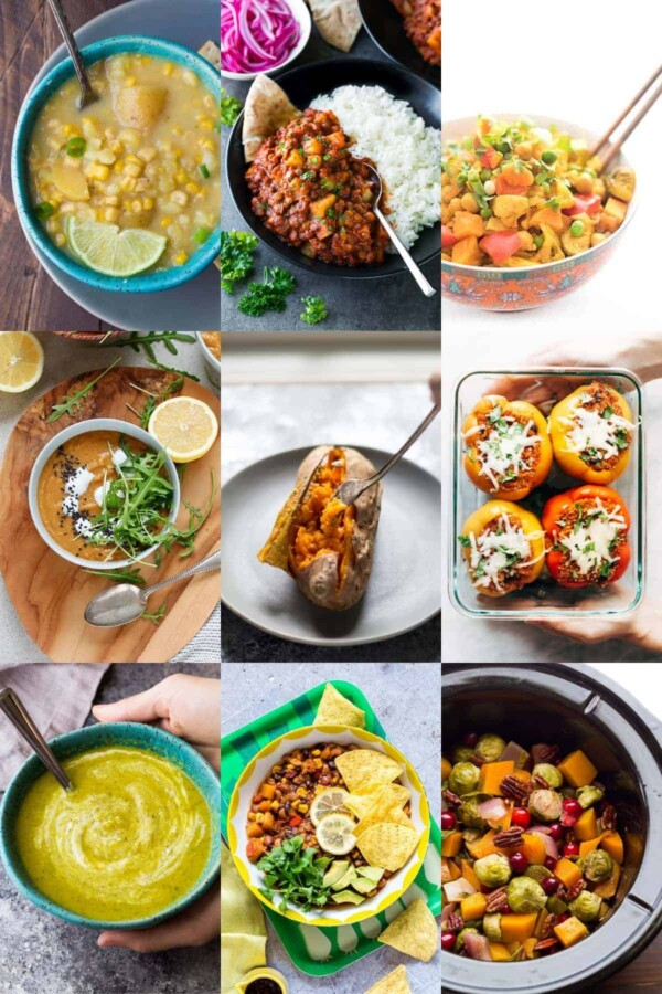 collage image with nine of the 36 Vegan Crockpot Recipes