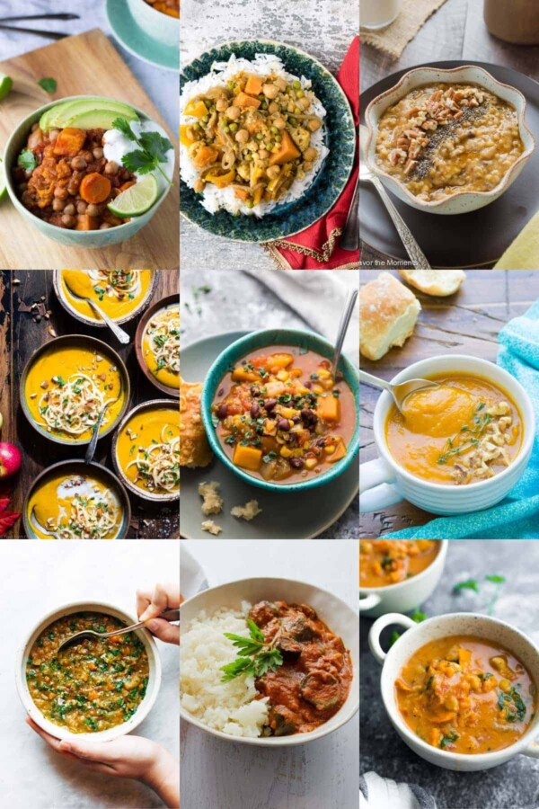 collage image with nine of the 36 Vegan slow cooker Recipes