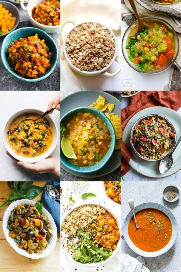 collage image with nine of the 36 Vegan Crock pot Recipes