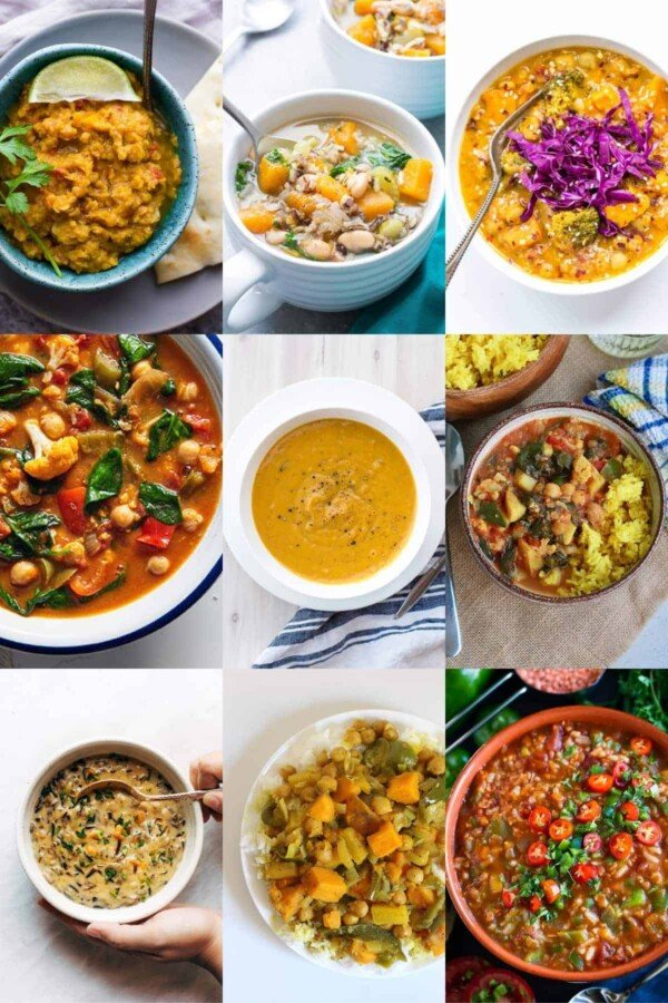 collage image with nine of the 36 crockpot Vegan Recipes