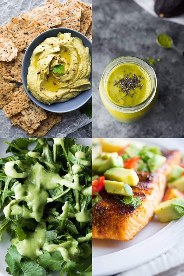 collage image with avocado recipes