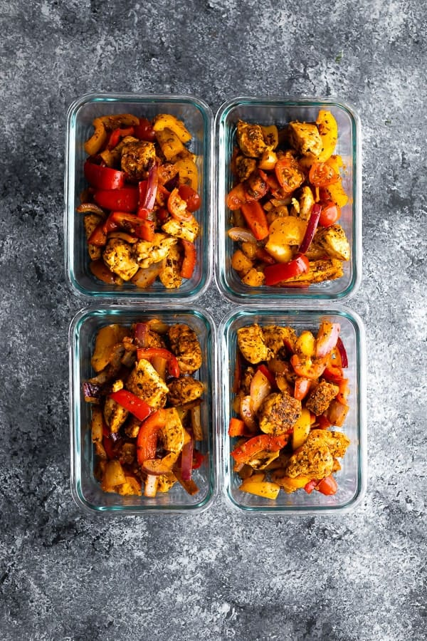 cajun chicken wrap recipe portioned out into meal prep containers