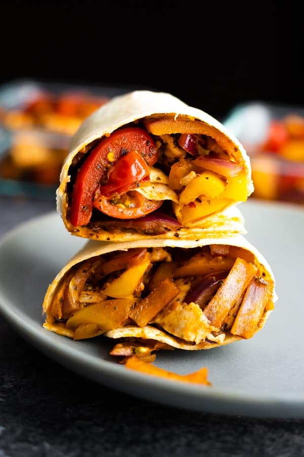 cajun chicken wrap recipe stacked on a plate