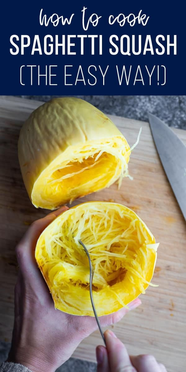 Showing you how to cook spaghetti squash- the EASY way! Roast it whole, so you can avoid cutting through a rock hard spaghetti squash, or mangling your hand while scooping the seeds out. #sweetpeasandsaffron #lowcarb #spaghettisquash