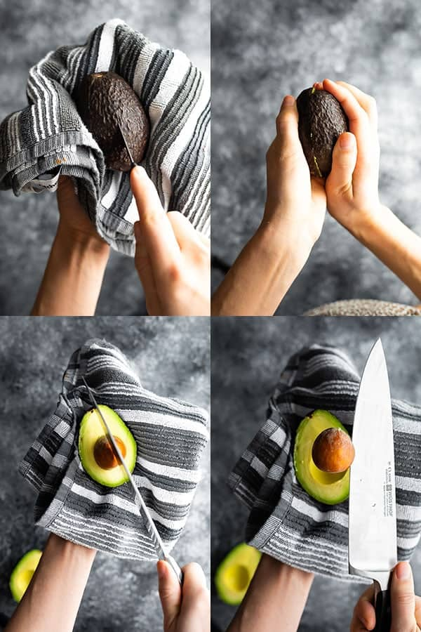 collage image showing how to cut an avocado