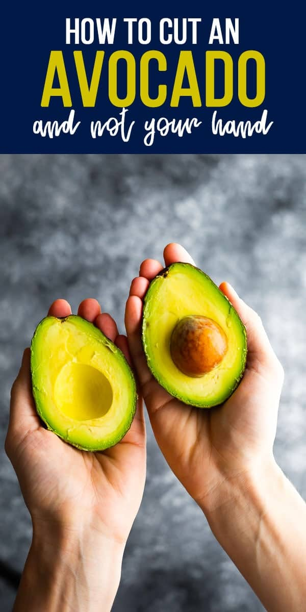 How to cut an avocado (and not cut yourself!)- showing you how to protect your hand while cutting an avocado. #sweetpeasandsaffron #howto #avocado