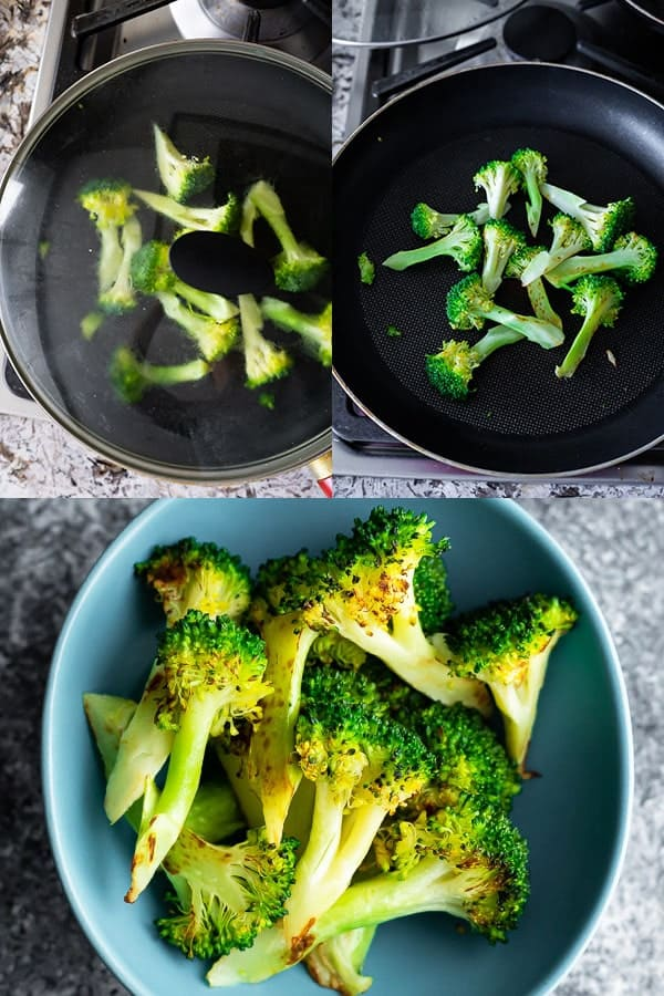 collage image showing how to sautee broccoli