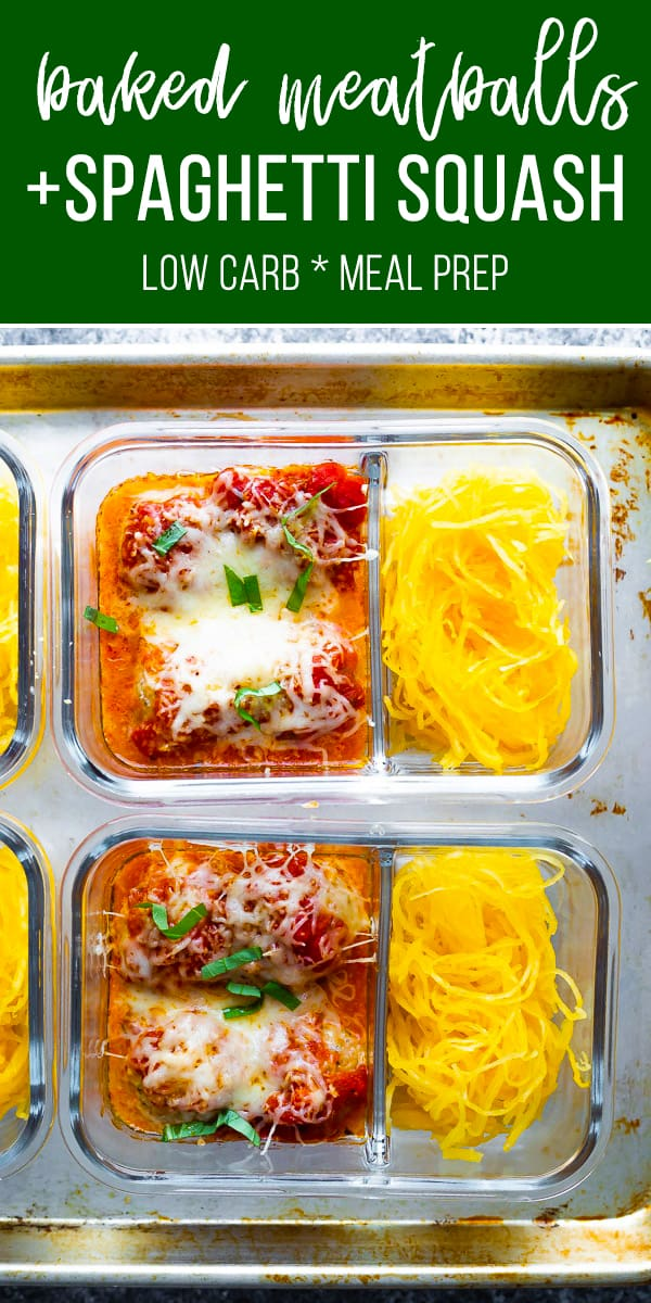 This baked meatball meal prep with spaghetti squash is a lower carb lunch option! Save time and reduce your dishes by baking the meatballs right in your meal prep containers! #sweetpeasandsaffron #mealprep #lowcarb #keto
