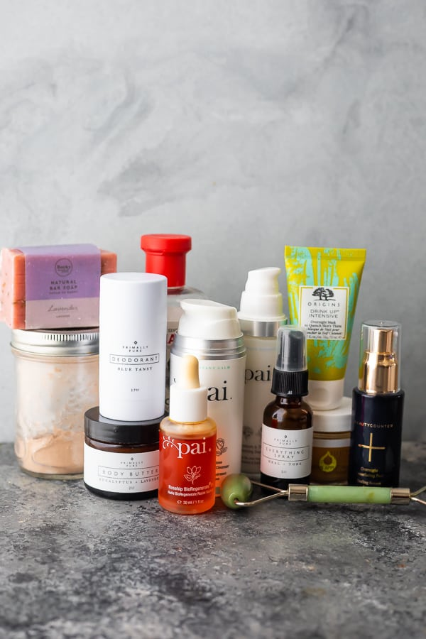 showing the non-toxic skincare products I use