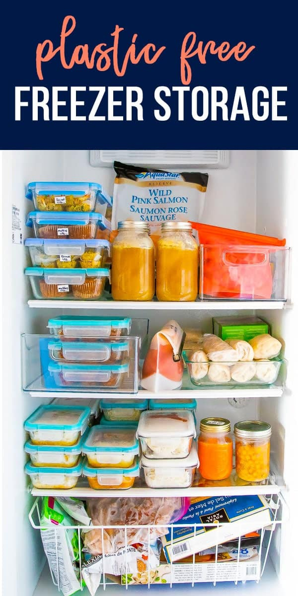 Sharing my favorite ways to avoid plastic in the freezer! With a few helpful products and strategies, you can drastically reduce your dependency on single-use products. #sweetpeasandsaffron #mealprep #freezer #plasticfree
