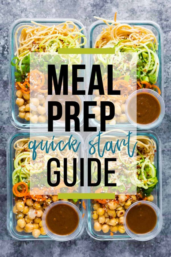 four meal prep bowls with text overlay saying meal prep quick start guide