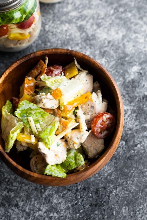 Ranch Chicken Jar Salads in wooden bowl